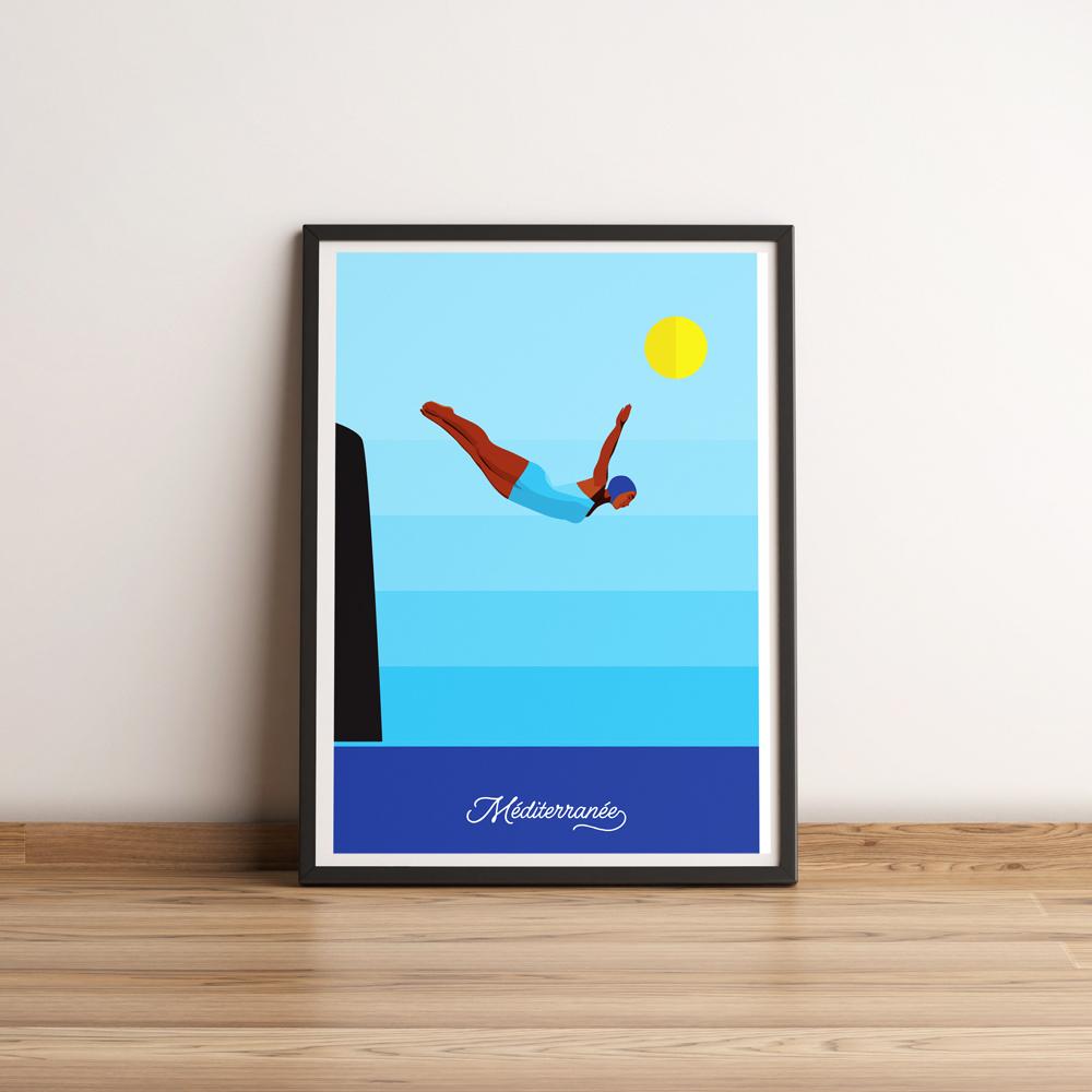 affiche plongeuse vintage