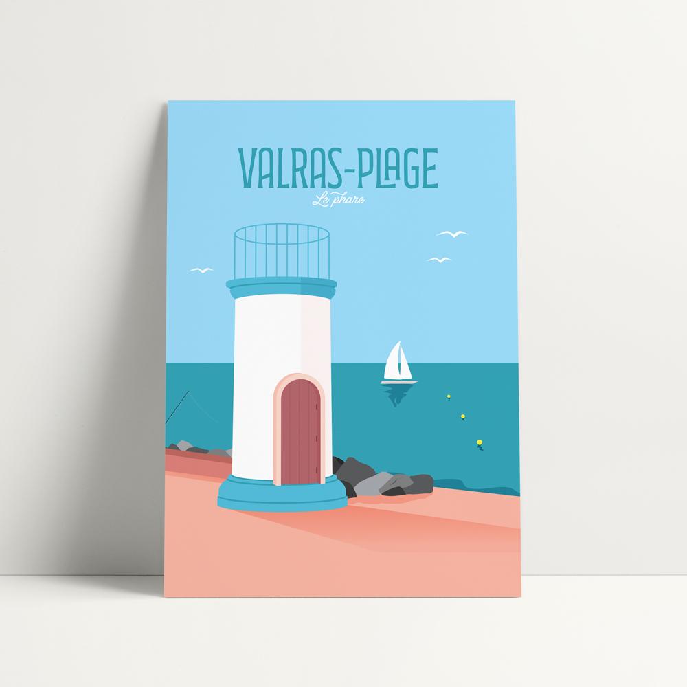 carte postale valras plage